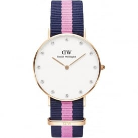 Daniel Wellington 0952DW Classy 34 Winchester Ladies Blue and Pink Nylon Watch