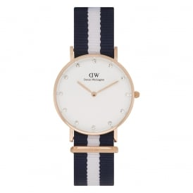 Daniel Wellington 0953DW Classy 34 Glasgow Ladies Blue and White Nylon Watch