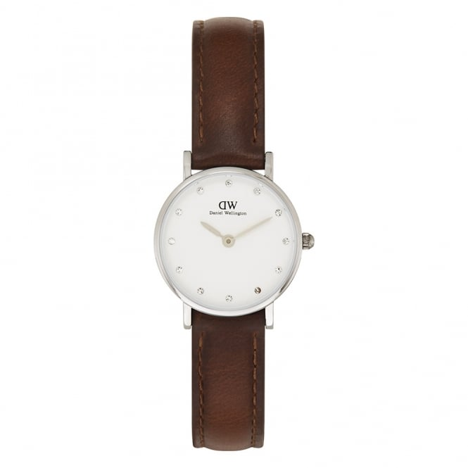Daniel Wellington 0920DW Classy 26 St Mawes Ladies Silver & Brown Leather Watch