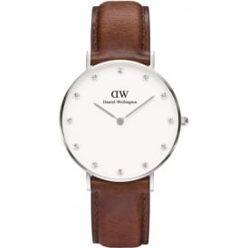 Daniel Wellington 0960DW Classy 34 St Mawes Ladies Brown Leather Watch