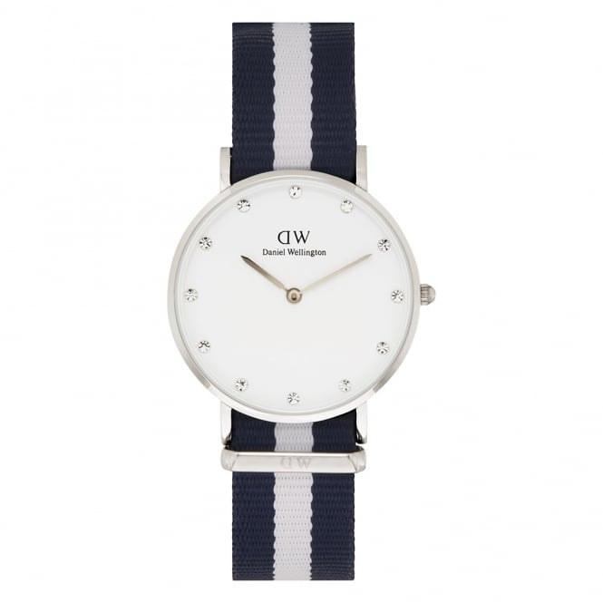 Daniel Wellington 0963DW Classy 34 Glasgow Ladies Blue and White Nylon Watch