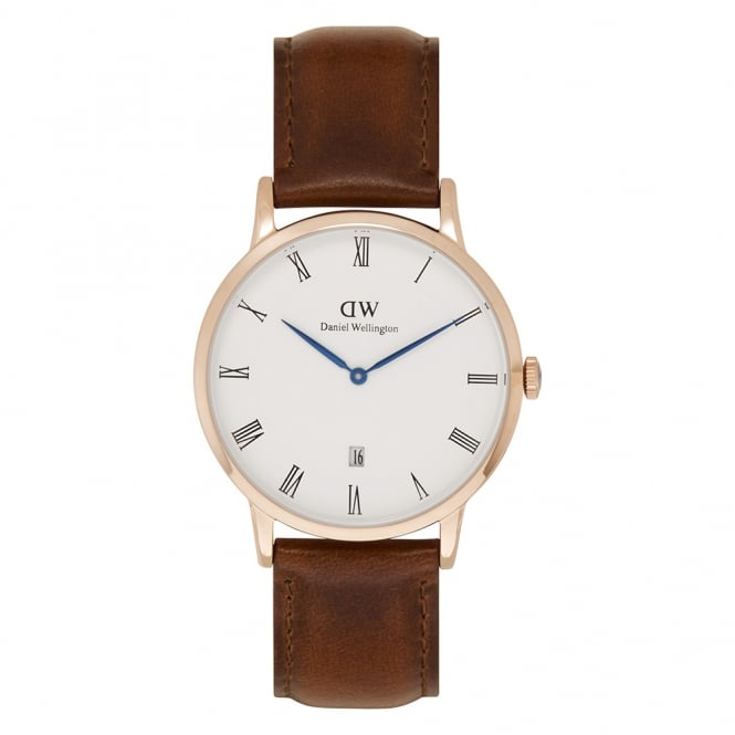Daniel Wellington 1100DW Dapper 38 St Mawes Rose Gold Brown Leather Watch