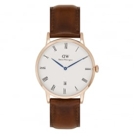 1100DW Dapper 38 St Mawes Rose Gold Brown Leather Watch