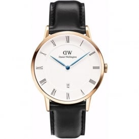 Daniel Wellington 1101DW Dapper 38 Sheffield Rose Gold Black Leather Watch