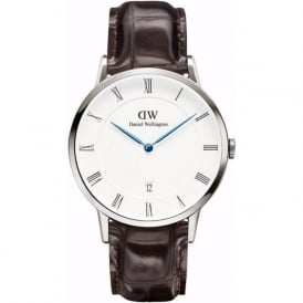 Daniel Wellington 1122DW Dapper 38 York Silver Brown Leather Gent's Watch