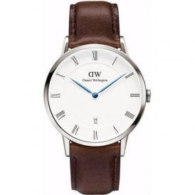 Daniel Wellington 1123DW Dapper 38 Bristol Silver Brown Leather Gent's Watch