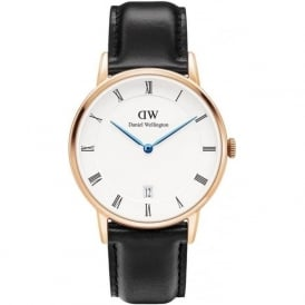 Daniel Wellington 1131DW Dapper 34 Sheffield Rose Gold & Black Leather Ladies Watch