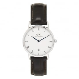 1142DW Dapper 34 York Silver & Brown Textured Leather Ladies Watch