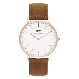 DW00100109 Classic 40 Durham Rose Gold & Brown Leather Gents Watch