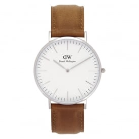 DW00100110 Classic 40 Durham Silver & Brown Leather Gents Watch