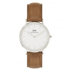 DW00100112 Classic 36 Durham Silver & Brown Leather Ladies Watch