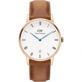 Daniel Wellington DW00100113 Dapper 34 Durham Rose Gold & Brown Leather Ladies Watch