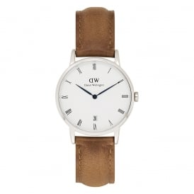 DW00100114 Dapper 34 Durham Silver & Brown Leather Ladies Watch