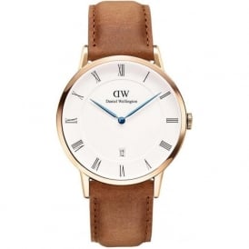 Daniel Wellington DW00100115 Classic 38 Dapper Durham Rose Gold & Brown Leather Gents Watch