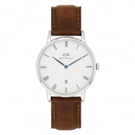 DW00100116 Dapper 38 Durham Silver & Brown Leather Gents Watch
