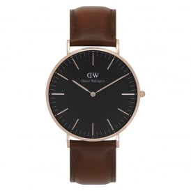 DW00100124 Classic Black 40 St Mawes Rose Gold, Black Dial & Brown Leather Men's Watch