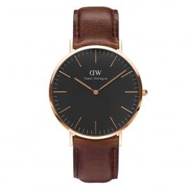 DW00100125 Classic Black 40 Bristol Rose Gold, Black Dial & Dark Brown Leather Men's Watch