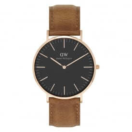 DW00100126 Classic Black 40 Durham Rose Gold, Black Dial & Light Brown Leather Men's Watch