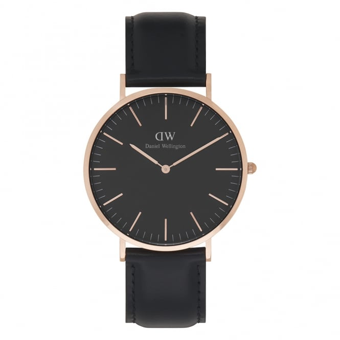Daniel Wellington DW00100127 Classic Black 40 Sheffield Rose Gold & Black Leather Men's Watch