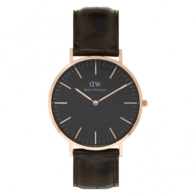 Daniel Wellington DW00100128 Classic Black 40 York Rose Gold, Black Dial and Brown Leather Men's Watch