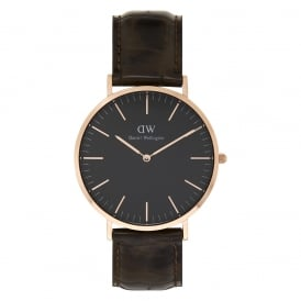 DW00100128 Classic Black 40 York Rose Gold, Black Dial and Brown Leather Men's Watch