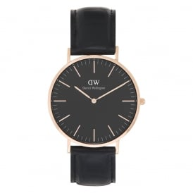 DW00100129 Classic Black 40 Reading Rose Gold & Black Leather Men's Watch