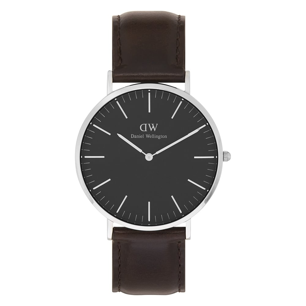 daniel wellington dw00100131 classic black 40 bristol leather daniel wellington dw00100131 classic black 40 bristol silver black dial and dark brown leather men s
