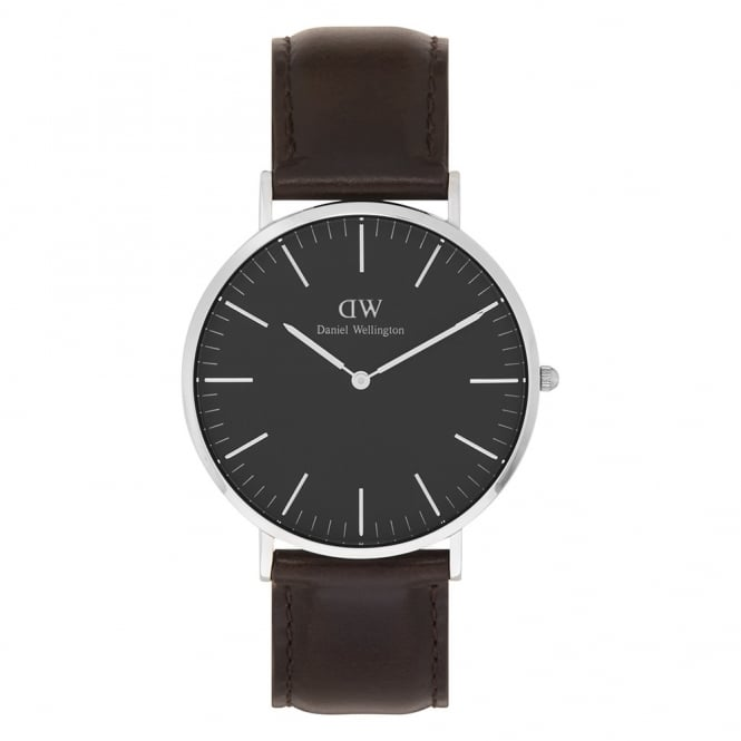 Daniel Wellington DW00100131 Classic Black 40 Bristol Silver, Black Dial and Dark Brown Leather Men's Watch