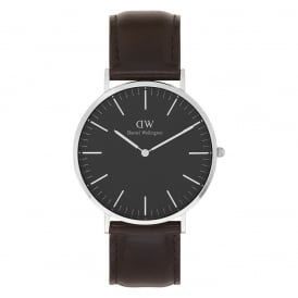 DW00100131 Classic Black 40 Bristol Silver, Black Dial and Dark Brown Leather Men's Watch