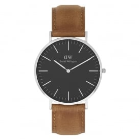 DW00100132 Classic Black 40 Durham Silver, Black Dial & Light Brown Leather Men's Watch