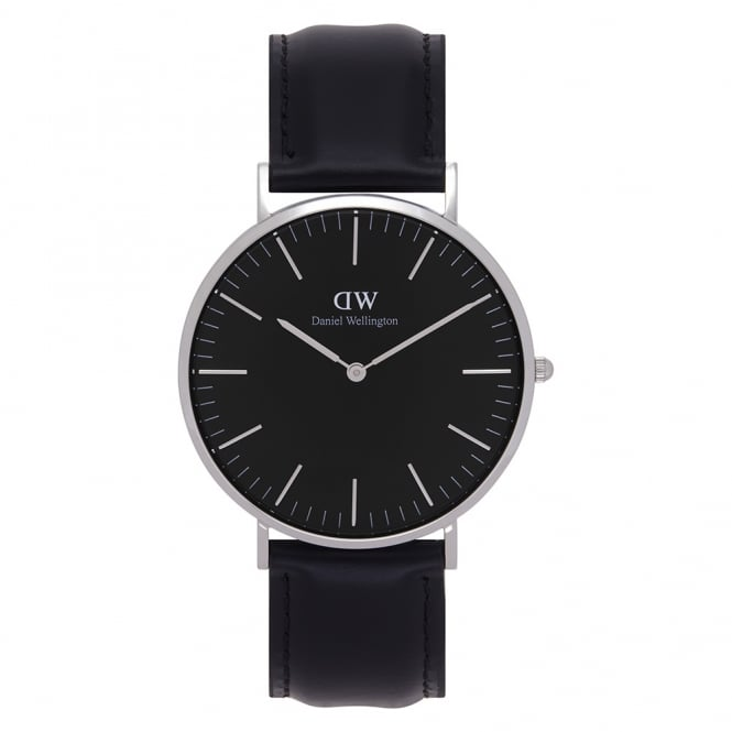 Daniel Wellington DW00100133 Classic Black 40 Sheffield Silver & Black Leather Men's Watch