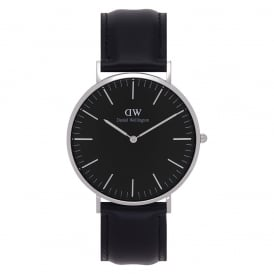 DW00100133 Classic Black 40 Sheffield Silver & Black Leather Men's Watch
