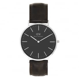 DW00100134 Classic Black 40 York Silver, Black Dial and Brown Leather Men's Watch