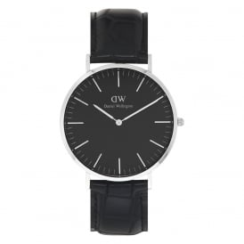 DW00100135 Classic Black 40 Reading Silver & Black Leather Men's Watch