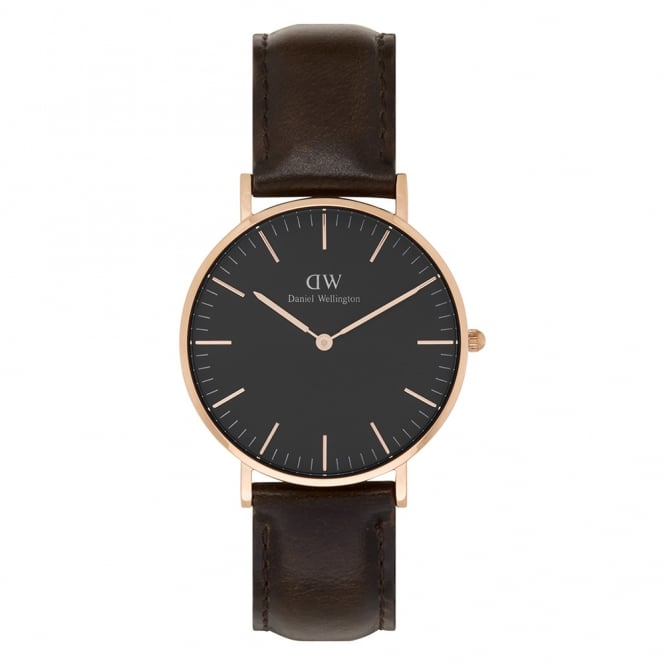 Daniel Wellington DW00100137 Classic Black 36 Bristol Rose Gold, Black Dial and Dark Brown Leather Ladies Watch