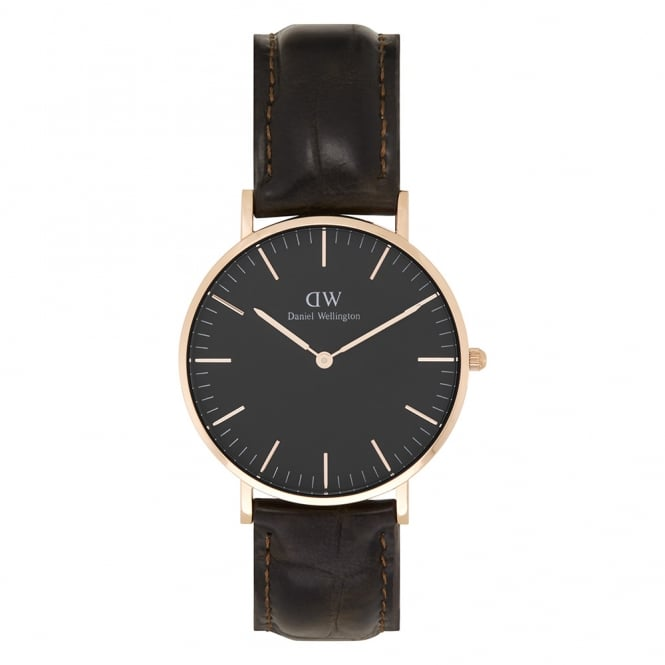 Daniel Wellington DW00100140 Classic Black 36 York Rose Gold, Black Dial and Brown Leather Ladies Watch