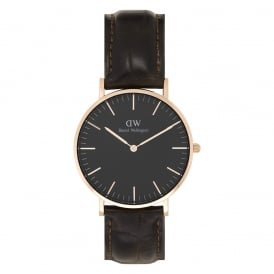 DW00100140 Classic Black 36 York Rose Gold, Black Dial and Brown Leather Ladies Watch