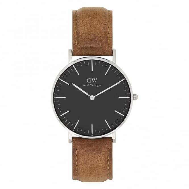 Daniel Wellington DW00100144 Classic Black 36 Durham Silver, Black Dial & Light Brown Leather Ladies Watch