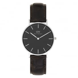 DW00100146 Classic Black 36 York Silver, Black Dial & Brown Leather Ladies Watch