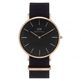 DW00100148 Classic Black 40 Cornwall Rose Gold & Black Nylon Men's Watch