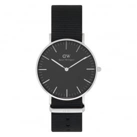 DW00100151 Classic Black 36 Cornwall Silver & Black Nylon Ladies Watch