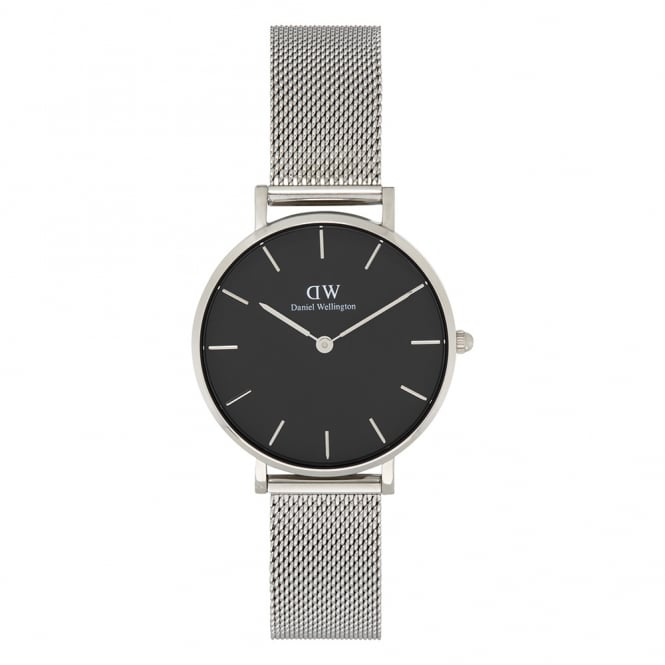 Daniel Wellington DW00100162 Classic Petite Sterling Black & Silver Mesh Ladies Watch