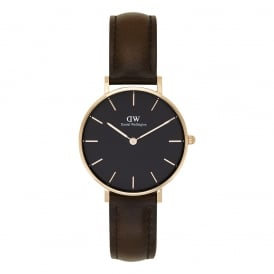 DW00100165 Classic Petite Bristol Rose Gold, Black Dial & Dark Brown Leather Ladies Watch