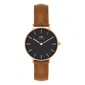 DW00100166 Classic Petite Durham Rose Gold, Black Dial & Light Brown Leather Ladies Watch
