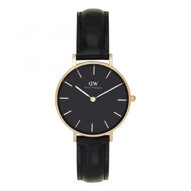 Daniel Wellington DW00100167 Classic Petite Reading Rose Gold, Black Dial & Black Textured Leather Ladies Watch
