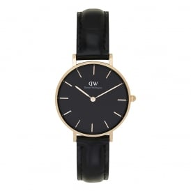 DW00100167 Classic Petite Reading Rose Gold, Black Dial & Black Textured Leather Ladies Watch