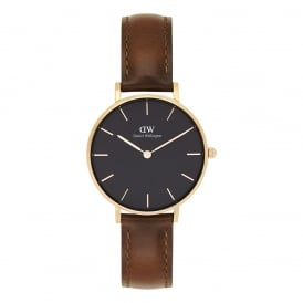 DW00100169 Classic Petite St Mawes Rose Gold, Black Dial & Brown Leather Ladies Watch