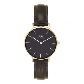 DW00100170 Classic Petite York Rose Gold, Black Dial and Brown Textured Leather Ladies Watch