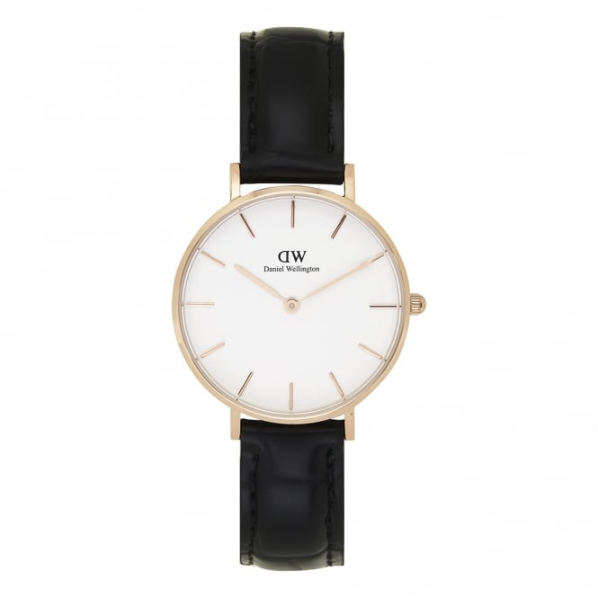 Daniel Wellington DW00100173 Classic Petite Reading Rose Gold & Black Textured Leather Ladies Watch