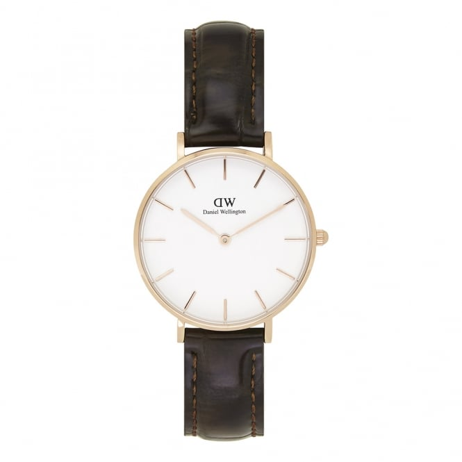 Daniel Wellington DW00100176 Classic Petite York Rose Gold & Brown Textured Leather Ladies Watch